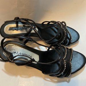 NIB Lasonia F2610 Black Sequin Peep Toe Heel 6M
